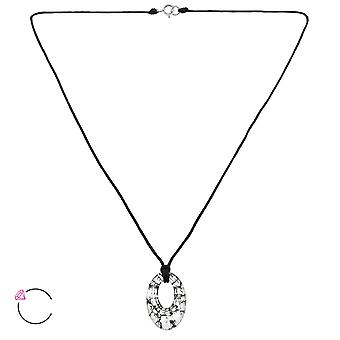 Oval Crystal From Swarovski® - 925 Sterling Silver + Nylon Cord Necklaces - W27960x