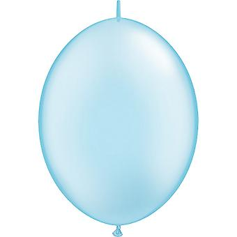 Qualatex 12 Inch Plain Pearl Light Blue Latex Party Balloons (Pack of 50)