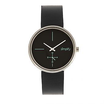 Simplificar el 4400 banda de cuero reloj - negro/plata