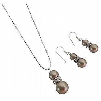 Dopasowanie biżuterii / Mocha sukienka perły brązowe cyrkonie dzwoni