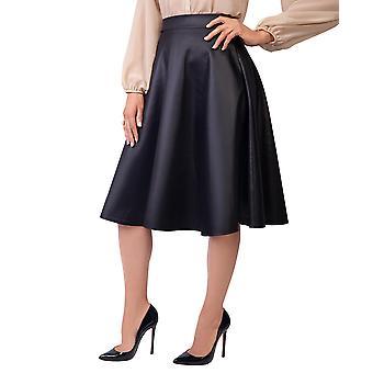 KRISP Womens Ladies PVC Leather A Line Swing High Waist Pleated Flared Full Midi Skirt