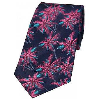 David Van Hagen Palm Tree Silk Tie - Navy/Fuchsia