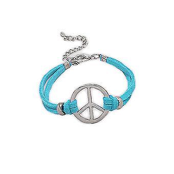 Браслет мира и любви синяя замша