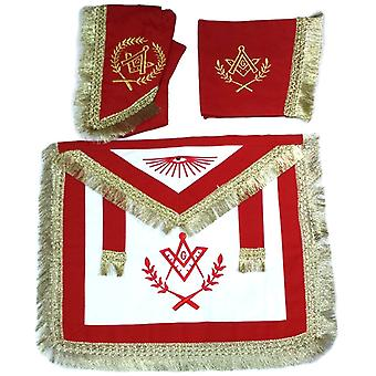 Master Mason Cardura Apron, Collar gauntlets Set with Fringe Red