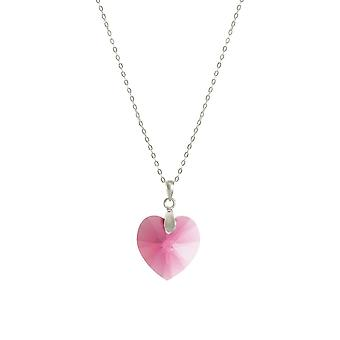 Eternal Collection Amour Rose Pink Austrian Crystal Heart Sterling Silver Pendant