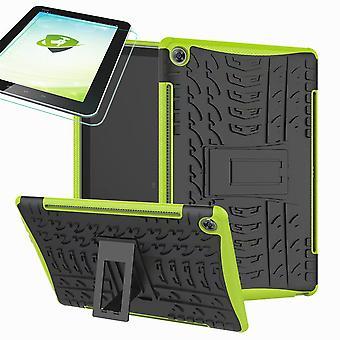 Dla Samsung Galaxy Tab A 10.1 T510 / T515 2019 Hybrydowa zewnętrzna obudowa ochronna Zielona obudowa + szkło ochronne 0.3 H9