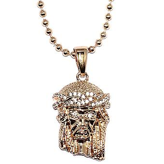 Rose Gold Micro Jesus Piece with 30 inch Ball chain Necklace