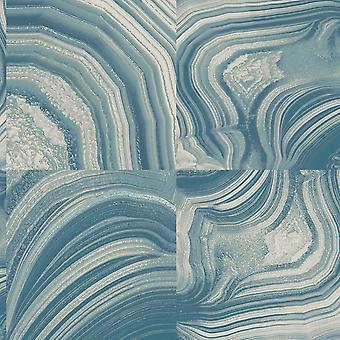 Textured Vinyl Modern Marble Effect Wallpaper Teal Grey Silver Glitter Shimmer