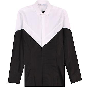 Neil Barrett textuur patroon shirt zwart en wit