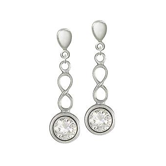 Eternal Collection April Cubic Zirconia Birthstone Sterling Silver Drop Clip On Earrings