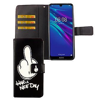 Huawei Y6 2019 Funda de la funda del teléfono de bolsillo Funda con la bandeja de la tarjeta que tienen un buen día