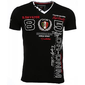 E T-shirt - Short Sleeves - Embroidery Automobile Club - Black