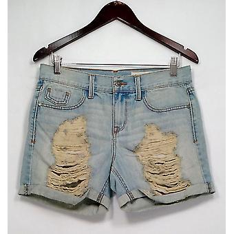 Pistola Pantaloncini Denim Strappato Dettaglio w / Tasche Blu Chiaro