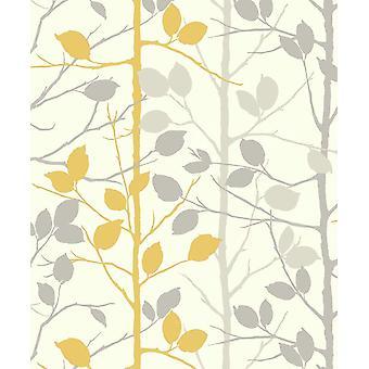 Mosterd geel grijs bos behang bos bomen takken metalen Arthouse