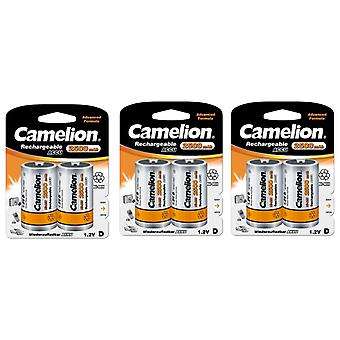 6x Camelion rechargeable D Batteries NiMH HR20 LR20 2500mAh battery
