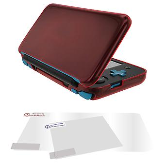 Protective case & screen protector set for 2ds xl (new nintendo) flexi gel cover & red
