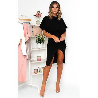 IKRUSH Damen Koni Krawatte Taille Batwing Midi Kleid