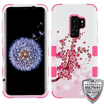 MYBAT Spring Flowers/Electric Pink TUFF Hybrid Phone Protector Cover for Galaxy S9 Plus