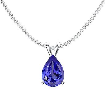Dazzlingrock Collection 8x6 mm Pear Cut Tanzanite Ladies Solitaire Pendant (Silver Chain Included), Sterling Silver