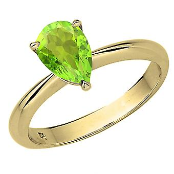 Dazzlingrock Collection 14K 97mm Pear Cut Peridot Solitaire Bridal Engagement Ring, Yellow Gold