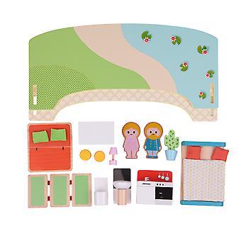Classic World-puinen moderni unelma talo, nukke ' s talo huone kalut, hahmoja ja Puutarha