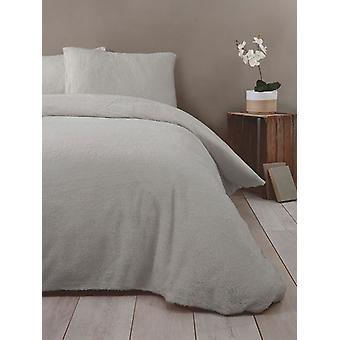 Snuggle Bedding Teddy Fleece Duvet Cover Set - King Size, Silver