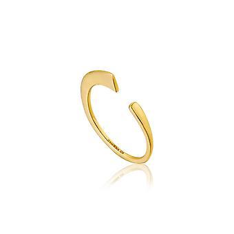 アニアハイシルバーシャイニーゴールドメッキ幾何学的曲面調節可能なリングR005-02G