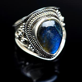 Labradorite Ring Size 6 (925 Sterling Silver)  - Handmade Boho Vintage Jewelry RING977819