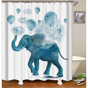Blue Hot-Air Balloons And Elephant Shower Curtain