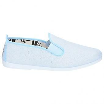Flossy Onda Ladies Canvas Slip On Plimsolls Light Blue