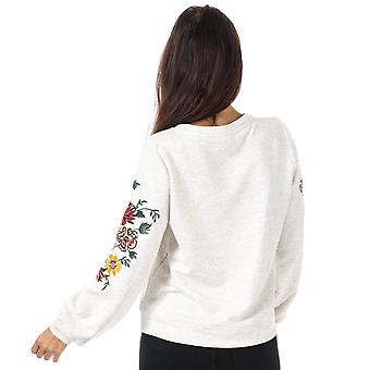 Womens Only Anna Embroidered Crew Neck Sweatshirt In Oatmeal