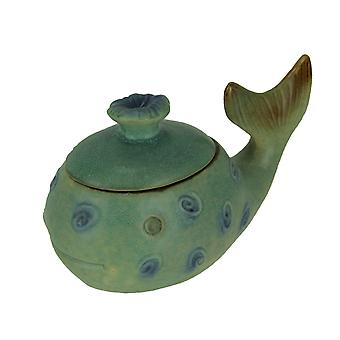 Green Porcelain Whimsical Whale Decorative Lidded Trinket Box Storage Container