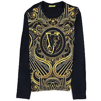 Versace Jeans Gold Printed Vj Long Sleeve T Shirt Black