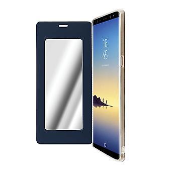 Housse Samsung Galaxy Note 8 Antichoc avec Clapet et Miroir Intégré bleu nuit