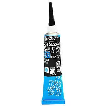 Pebeo Setacolor 3D Brod'Line Effect Fabric Paint 20ml - 602 Black