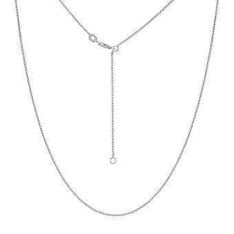 14k White Gold 1.05mm Adjustable Round Wheat Chain Necklace Lobster Claw Closure Lock 18 Inch Jewelry Gifts for Women