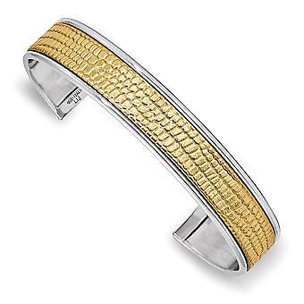 925 Sterling Argent et Cuir Poli et Textured Cuff Empilable Bracelet Bijoux Bijoux pour les femmes