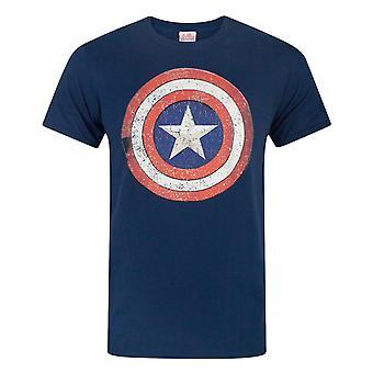 Captain America Distressed Shield Miesten's T-paita