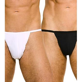Miles thong twin pack black & white stretch cotton