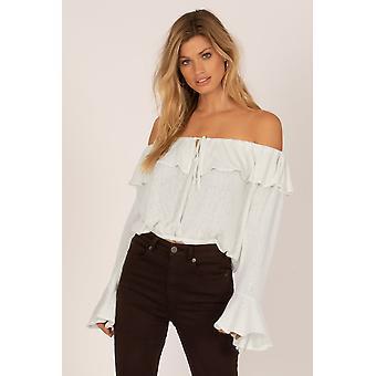 Amuse society bella babe knit top - casa blanca