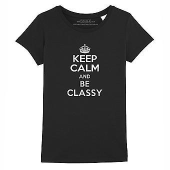 STUFF4 Girl's Round Neck T-Shirt/Keep Calm Be Classy/Black