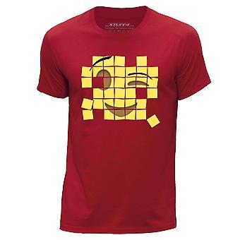 STUFF4 Mannen ronde hals T-T-shirt/oude mozaïek/Wink Emoticon/rood