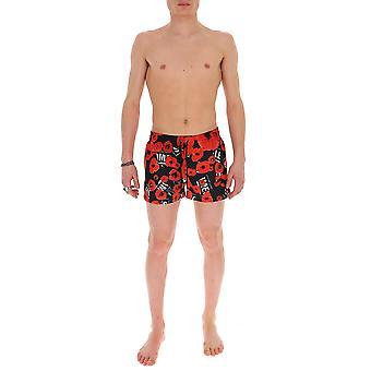 Les Hommes Lip711250p9005 Men's Black/red Nylon Trunks
