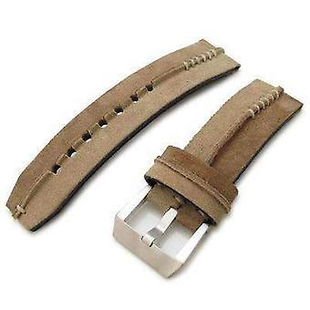 Strap strap de montre en cuir Strapcode 24mm miltat sable - l ceinture de montre en daim de conception de crête brune, point de main beige