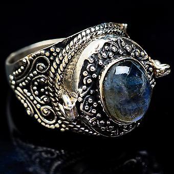 Large Poison Labradorite Ring Size 8.5 (925 Sterling Silver)  - Handmade Boho Vintage Jewelry RING3433