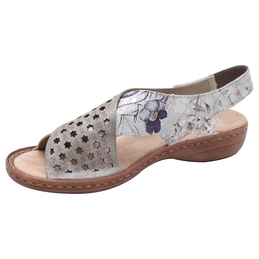 Rieker Multi Coloured Floral Cross Over Strap Sandal