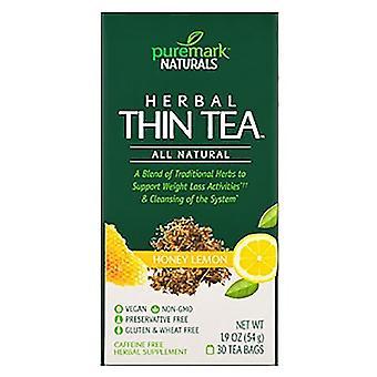 Puremark naturals herbal thin tea, tea bags, honey lemon, 30 ea