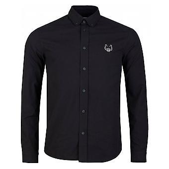Chemise noire en coton logo Kenzo Tiger