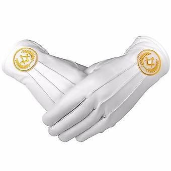 Masonic regalia witte zachte lederen handschoenen vierkant kompas geel