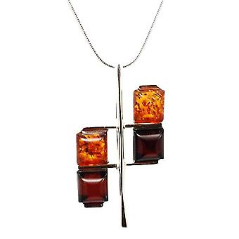 TOC Sterling Silver Criss-Cross Amber Pendant on 18 Inch Chain